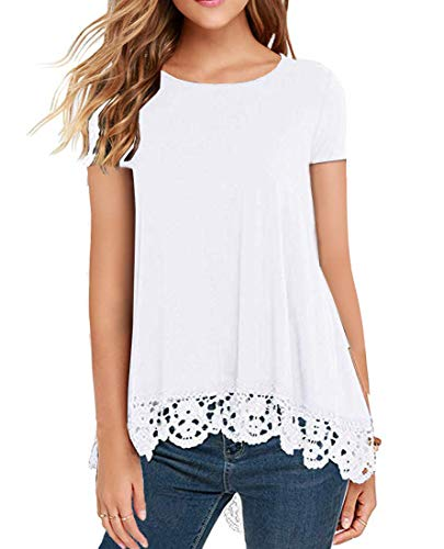 QIXING Women's Tops Short Sleeve Lace Trim O-Neck A-Line Tunic Blouse White-L