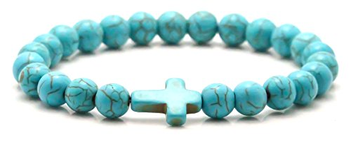 Turquoise Tiger - Xusamss Fashion Religion Cross Bangle 8MM Tiger Eye Turquoise Beads Elastic Bracelet,7 1/2 Wrist