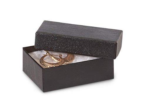 2x1-1/2x5/8'' BLACK Embossed BoxesJewelry Box w/ Non-tarnish Cotton (1 unit, 100 pack per unit.)