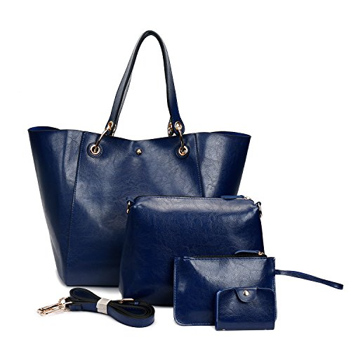 Ephraim Handbags for Ladies Fashion Leather Handbags+Tote Bag+Purse+Card Holder 4pcs Shoulder Bag Navy Blue-a