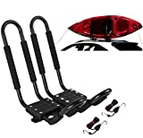 Car Rack & Carriers 1 Pairs Universal J- Shape Rack HD Kayak Carrier Canoe Boat. Surf Ski Roof Top Mounted on Car SUV Crossbar