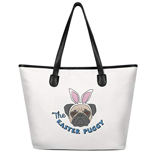 12.5X14 Inches Cute Zip Craft Canvas Large Tote Bag For Women Happy Easter Rabbit Starling Dog Reusable Grocery Beach Work Gym Book Lunch School Shopping Shoulder Handbag