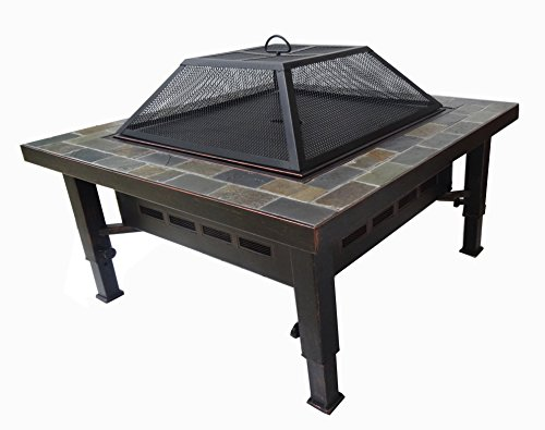 (Global Outdoors 34-in Adjustable Leg Square Slate Top Fire Pit with Spark Screen, Weather Resistant Cover and Safety)