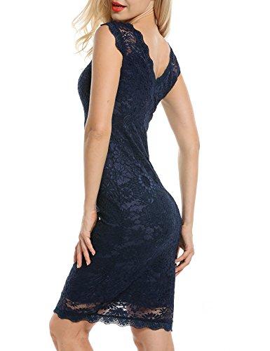 Acevog Women's Elegant Floral Sleeveless Lace Cocktail Evening Dress (Medium, Blue)