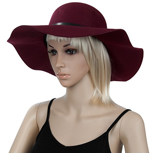 Aerusi Women's Vintage Classic Style Wool Felt Floppy Spring Fall Winter Fedora Hat Buckle Design by Aerusi