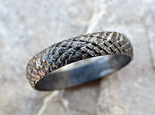 (dragon scale ring silver feather ring, medieval wedding band black silver, pagan wedding ring, snake skin ring black silver dragon ring)