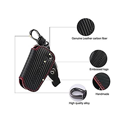 YIKA Genuine Premium Leather Key Fob Cover for Mercedes Benz (Carbon Fiber Leather): Automotive