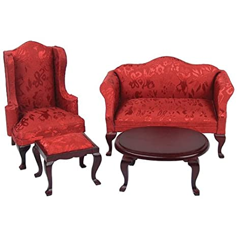 Dollhouse Miniature 4 Pc. Red Queen Anne Living Room Set