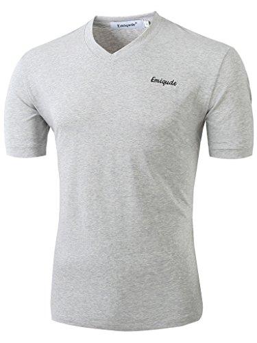 Emiqude Men's Casual Slim Fit Short Sleeve V Neck Cotton Tee T-Shirt Shirts Medium Gray