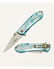 """FEMME FATALE FF-A010LB Spring Assist Folding Knife, Two-Tone Straight Edge Blade, Blue & Silver Handle, 4"""" Closed"""