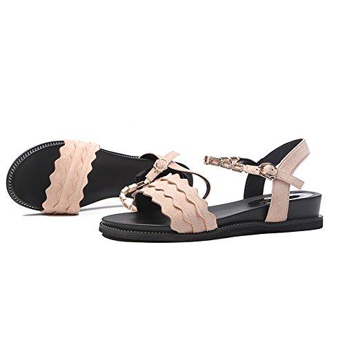 dimensioni con fondo Nero scarpe estivo donna UK6 Slipper donna fibbie Sandali EU39 Colore estive con da Albicocca cinturino CAICOLOR CN39 per piatto wAxFqgT