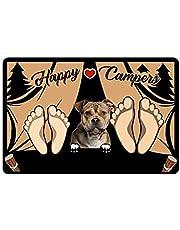 YH-KE Puppy Mat Custom Pet Dog Doormat Personalized Happy Camper Door Mat Floor Rug 23.6 x 15.7 Inches Indoor Outdoor Bathroom Living Room Non (Color : A1, Size : 40cmx60cm)