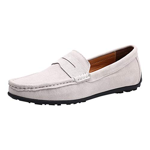 Mysky Popular Men Casual Solid Color Shallow Mouth Single Shoes Male Brief Comfy Wild Canvas Upper Shoes Lazy Shoes White