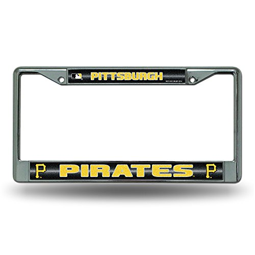 Rico MLB Pittsburgh Pirates Bling License Plate Frame, Chrome, 12 x 6-Inch