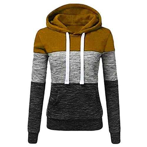 - Sunhusing Women's Casual Hooded Turtleneck Sweatshirt Ladies Colorblock Patchwork Hoodie Pullover Khaki