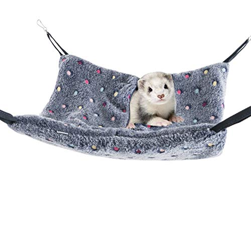 Niteangel Hanging Hammock Nap Sack Swing Bag Pet Sleeper for Ferret Rat Sugar Glider and Other Small Animals (Blue, Polka-dot)