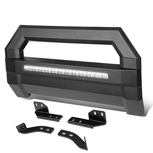 For Tundra Square Tube Lightweight Bull Bar w/LED Light+License Plate Relocation Kit (Black) ()