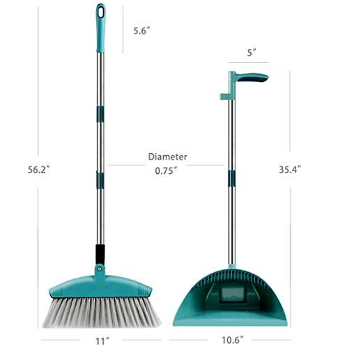 SUPERJARE Broom and Dustpan Set, Lengthened Upright Grips Sweep Combo, 180° Rotation Broom for Home & Office - Green by SUPERJARE (Image #2)
