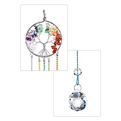 Crystal Window Hanging Ornament Crystal Ball Prism Suncatcher Chakra Crystal Pendant Life Tree Ornament Glass Pendant Hanging Ornament for Home Garden Decoration : Garden & Outdoor
