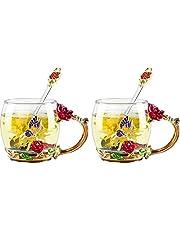 COAWG szkliwo kwiat filiżanka do herbaty duży szklany kubek z łyżeczką kryształowe przezroczyste szklane kubki, urodziny wesele walentynki prezenty świąteczne dla kobiet żony mamy babci nauczyciela przyjaciół