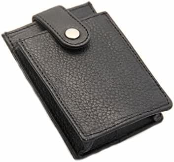 Paul&Taylor Mens Money Clip Card Holder Multiple Card Button Snap Pocket