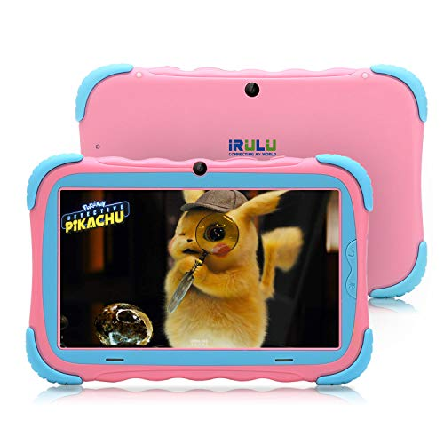 iRULU 7 inch Kids Tablet 16GB Android 7.1 Quad Core IPS HD Screen PC Google GMS Certified WiFi Bluetooth and 2+2MP Camera Babypad Supported Kids-Proof Case (Adapter Included)