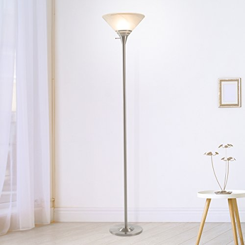 Lavish Home 72-TORCH-3 72-Torch-3 Torchiere Floor Lamp-Standing Light With Sturdy Metal Base And Marbleized Glass Shade-Energy Saving Led Bulb Included-By  (), Brushed Silver