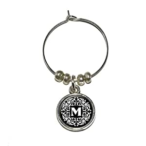 Letter M Initial Black and White Scrolls Wine Glass Charm Drink Stem Marker Ring