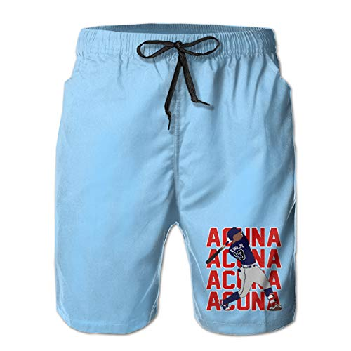 Men's Swim Trunks Quick Dry Atlanta Acuna Text Pic Surfing Beach Board Shorts with Side Pockets White
