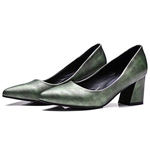 COOLCEPT Mujer Oficial Tacon Ancho Puntiagudo Court sin Cordones Bombas Zapatos Metalico Verde