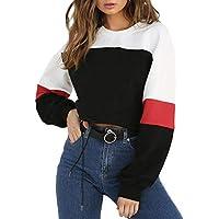 LOSRLY Women Color Block Long Sleeve Crop Top Sweatshirt Drawstring Hem Pullover Tops