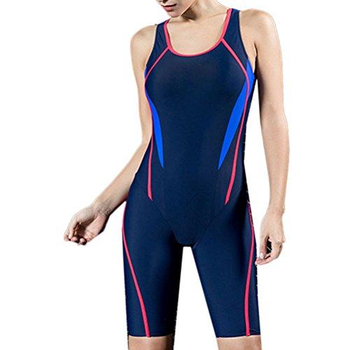 Zhhlinyuan Womens Boyleg Swimming Costume Swimsuit Slim Halter Beachwear Dark Blue