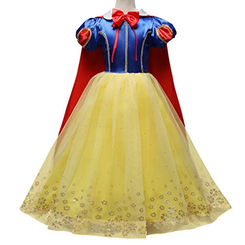 IWEMEK Toddlers Kids Girls Snow White Costume Halloween Christmas Princess Cosplay Fancy Dress Up Outfits D: Dress + Cloak 7-8 Years ()