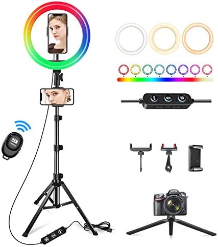 "10"" Ring Light with 62"" Tripod Stand & 3 Phone Holders,42 Color Modes & Stepless Dimmable Selfie Ring Light for YouTube,Makeup,Tiktok,Live Stream,Photography,LED Ring Light for iPhone/Android Phone"