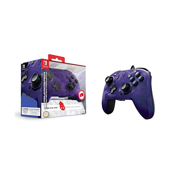 PDP 500-134-NA-CM05 Nintendo Switch Faceoff Deluxe+ Audio Wired Controller - Purple Camo 9