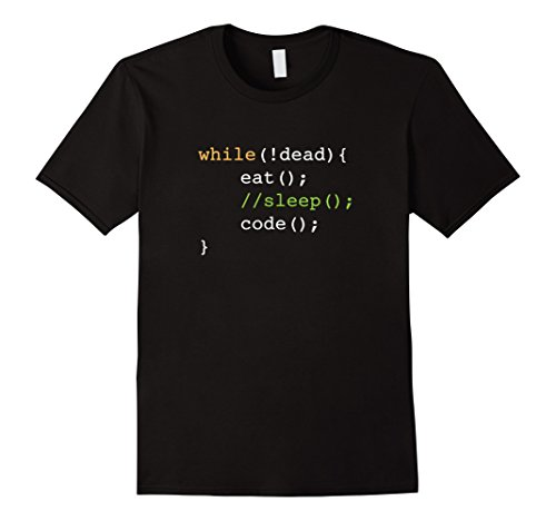 Mens Funny Computer Science Programmer Eat Sleep Code T-Shirt Small Black