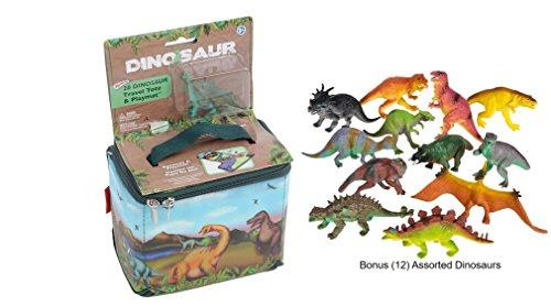 Dinosaur Playmat - Neat-Oh Zip-Bin Dinosaur Travel Tote and Playmat with 2-Dinosaurs plus a Bonus bag of 12-Assorted Dinosaurs