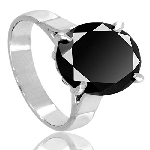 Certified 4 Cts Round Brilliant Cut Black Diamond Silver Ring AAA Quality by skyjewels