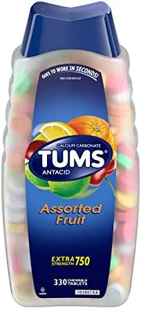TUMS Antacid Chewable Tablets for Heartburn Relief 330ct, Extra Strength, Assorted Fruit