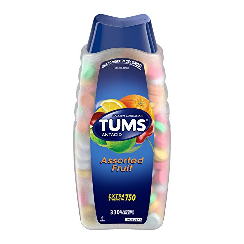 TUMS Antacid Chewable Tablets for Heartburn Relief 330ct, Extra Strength, Assorted Fruit ()