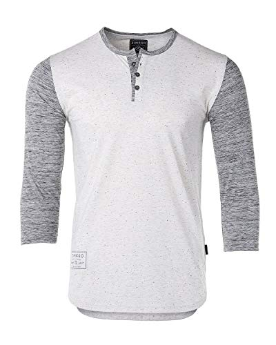 ZIMEGO Mens Contrast 3/4 Sleeve College Baseball Button Henley Athletic T Shirt