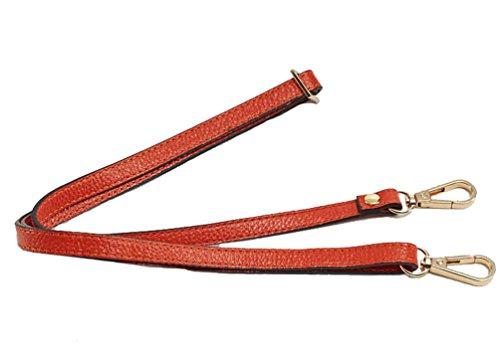 Orange Leather Strap - 12MM Width Leather Adjustable Length Replacement Cross Body Purse Handbag Bag Shoulder Bag Wallet Strap (Light Purle) (Orange)