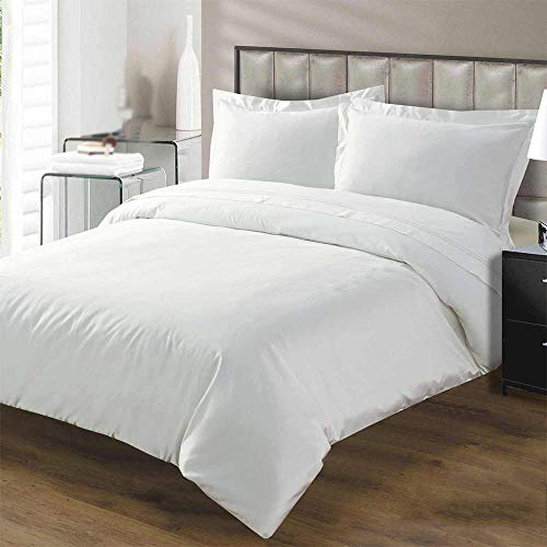 Kotton Culture Premium Duvet Cover 100% Egyptian Cotton 600 Thread Count with Zipper & Corner Ties Luxurious Hotel Collection (Queen/Full, White)