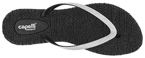 Capelli New York Damer Mode Flip Flops Med Fin Glitter Trim Black