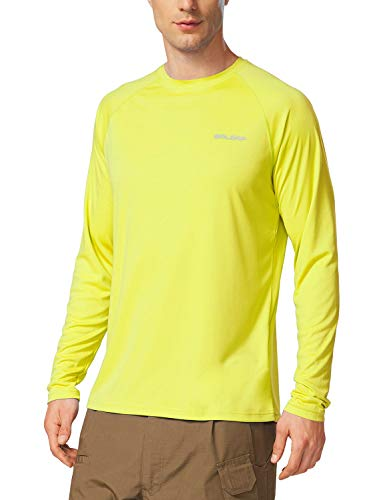 (BALEAF Men's UPF 50+ Outdoor Running Long Sleeve T-Shirt Light Yellow Size XL)