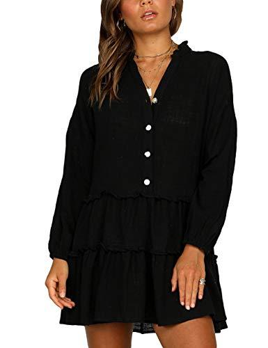 Lightweight Cover Up - Bsubseach Women Long Sleeve Button Down Pleated V Neck Bikini Cover Up Swimwear Black Beach Shirt Dress
