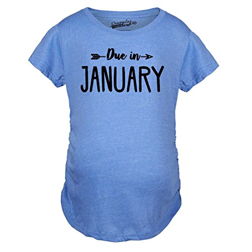 Crazy Dog TShirts - Maternity Due In January Funny T shirts Pregnant Shirts Announce Pregnancy Month Shirt (Blue) XL - damen - XL