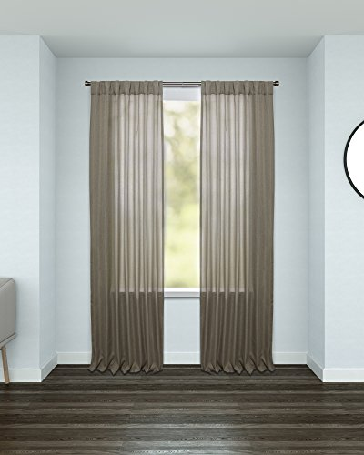 Umbra Kensington Room Darkening Curtain - Luxe Woven Fabric Provides Complete Privacy is Wrinkle Free and Easy to Install  (54 x 84 inches for Standard Size Windows, Beige, Single Panel) - ROOM DARKENING: Block out 89-99% of sunlight and UV rays. Our thick woven panels provide a light controlled environment and complete privacy for bedrooms, baby nurseries, living rooms, etc. EASY INSTALL: Kensington comes ready-made with no assembly or alterations required.  A hidden row of tabs allows you to directly slide your panels on a curtain rod without any additional hardware. This creates a seamless gathered pleating, effectively blocking out light without the use of grommets LUXE DESIGN: Kensington panels have an intricate woven texture combining function and design to add depth and style to any décor. Each curtain panel measures 54 x 84 inches and is designed to fit standard sized windows (8ft ceilings). Sold as a single panel. - living-room-soft-furnishings, living-room, draperies-curtains-shades - 41tn7fw4tpL -