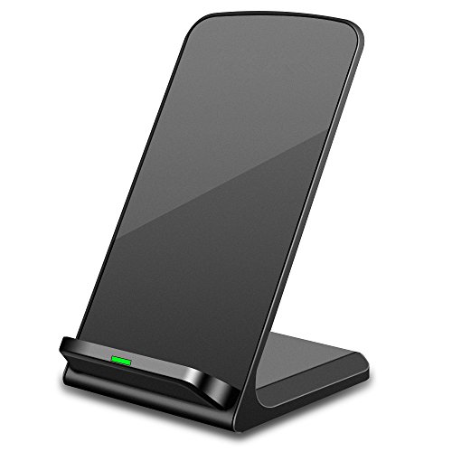 DECVO QiCertified Wireless Charger, Charging Pad Stand for iPhone X/8/8 Plus, Samsung S9/S9+/S8/S8+/S7/S7 edge/S6 edge+/Note 8/5, and More, PowerPort Wireless 5 Stand (AC Adapter Not Included) (Black)