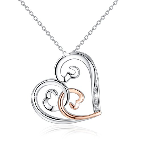 Cuoka Open Hearts Necklaces Sterling Silver For Women Rose Gold Love Pendant Necklace Birthday Gift for ()